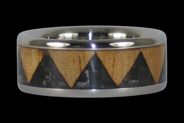 Black Carbon Fiber Tribal Drum Titanium Ring