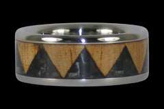 Black Carbon Fiber Tribal Drum Titanium Ring - Hawaii Titanium Rings  - 1
