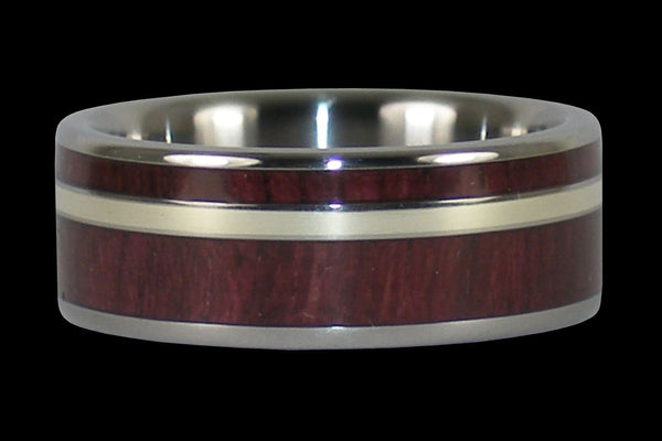 Purple Heart Wood and Gold Titanium Rings