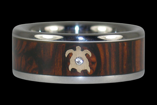 Cocobolo Ring with Diamond and Gold Turtle