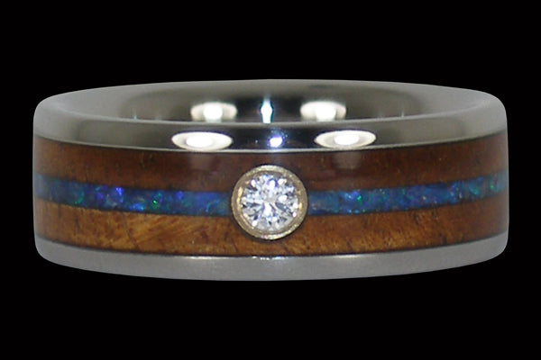 Diamond Curly Koa Wood and Blue Opal Hawaii Titanium Ring®
