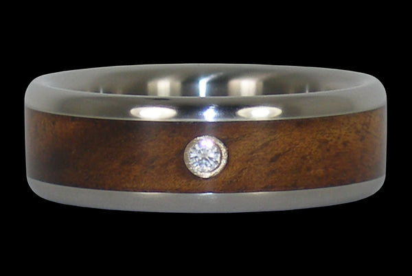Diamond Titanium Hawaiian Wedding Band with Curly Koa