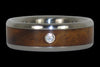 Diamond Titanium Wedding Band with Curly Koa - Hawaii Titanium Rings  - 1