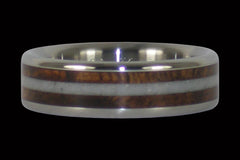 Curly Hawaiian Koa Wood Titanium Ring Band with White Coral - Hawaii Titanium Rings  - 1