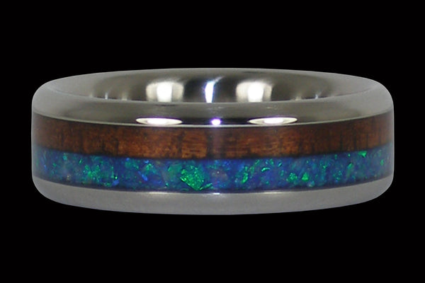 Blue Opal and Dark Koa Wood Hawaii Titanium Ring®