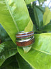 Curly Hawaiian Koa Wood Titanium Ring Band with White Coral