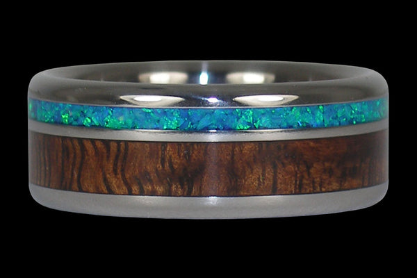 Blue Opal and Hawaiian Koa Titanium Ring