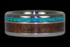 Blue Opal and Hawaiian Koa Titanium Ring - Hawaii Titanium Rings  - 1