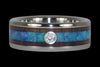 Blue Opal and Koa Wood Titanium Ring - Hawaii Titanium Rings  - 4