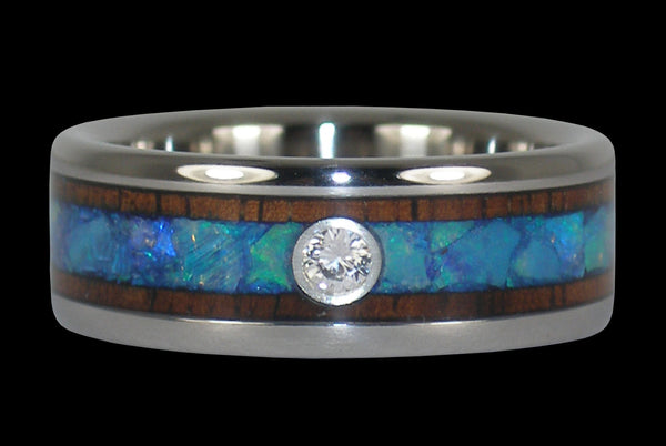 Diamond Opal Titanium Ring Band