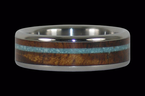 Turquoise and Koa Wood Titanium Ring