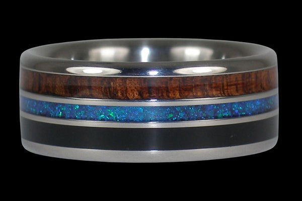 Opal Koa and Black Jet Titanium Ring