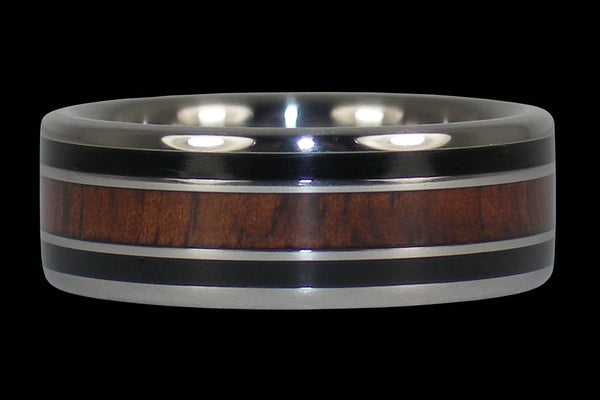 Dark Koa and Black Jet Ring