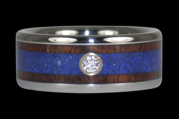 Koa and Lapis Diamond Titanium Ring