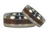 Titanium Ring Set featuring Koa Wood and Gold - Hawaii Titanium Rings  - 4