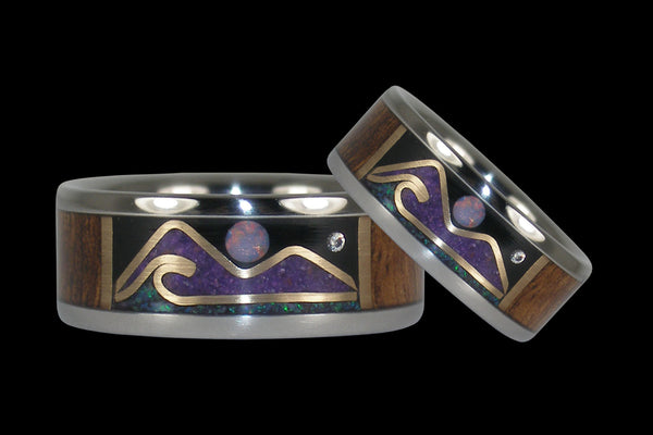 Oceanview Hawaii Titanium Rings with Diamond Star and Opal Moon
