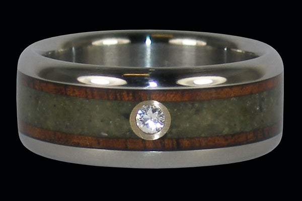 Diamond Koa and Peridot Titanium Ring