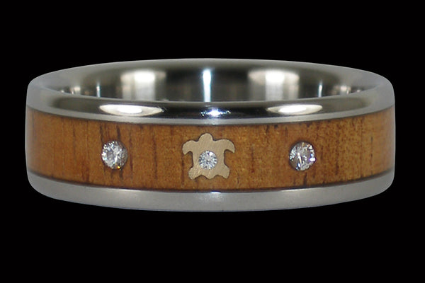 Three Diamond Gold Turtle Titanium Ring Band