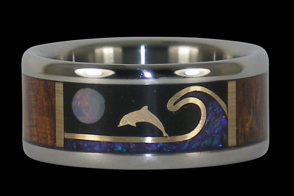 Titanium Dolphin Ring with Opal and Koa Wood From Hawaii Titanium Rings®
