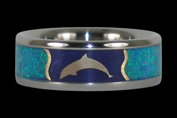 Gold Dolphin Blue Gemstone Ring