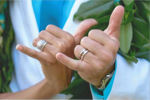 Diamond Titanium Rings with Wood and Gold Hawaii Titanium Rings