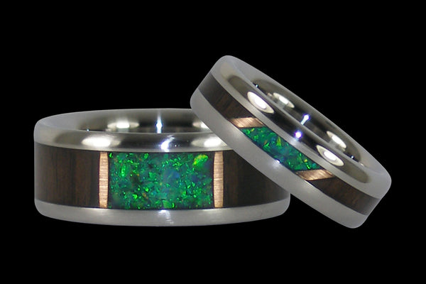 Green Lab Opal and Dark Wood Titanium Rings