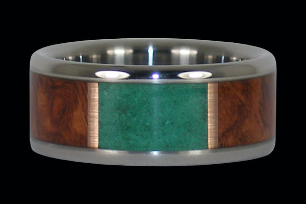 Malachite and Amboina Titanium Ring Band