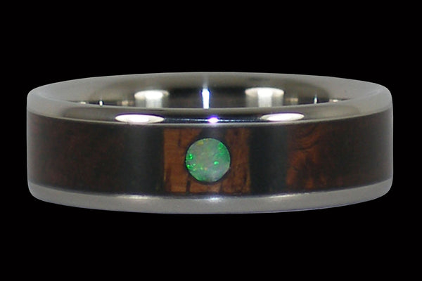 Opal Cabochon and Wood Titanium Ring