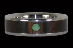 Opal Cabochon and Wood Titanium Ring - Hawaii Titanium Rings