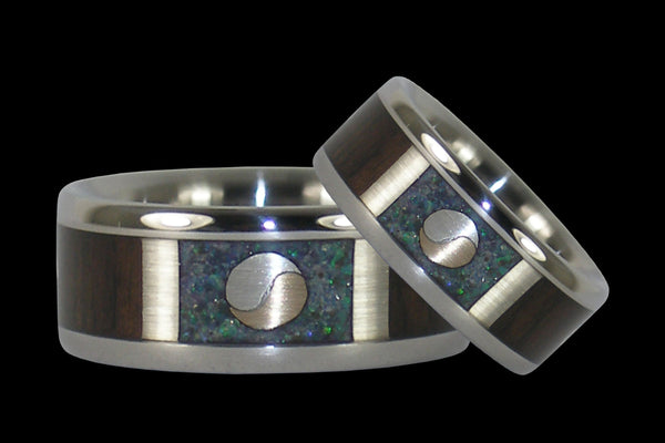 Yin and Yang Titanium Ring Bands