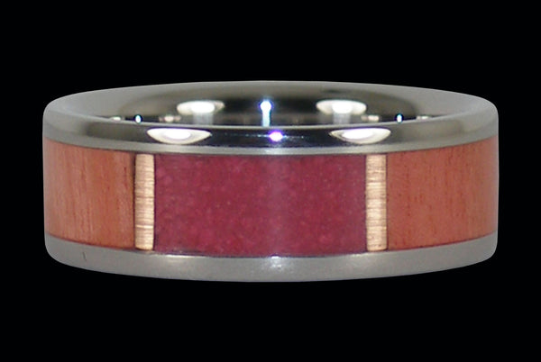 Valentines Day Pink Wood and Stone Titanium Ring