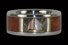 Sailboat Titanium Ring with Black Pearl - Hawaii Titanium Rings