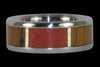 Red Coral and Teak Wood Titanium Ring - Hawaii Titanium Rings  - 2