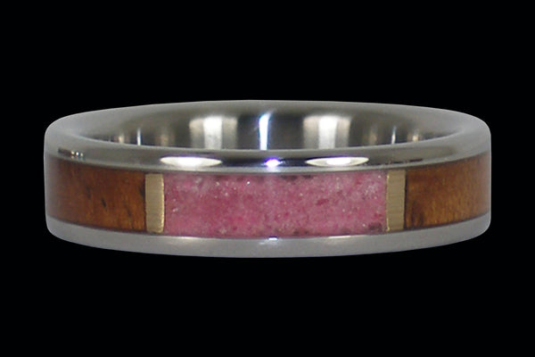 Ruby and Koa Wood Inlay Hawaii Titanium Ring®