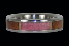 Ruby and Koa Wood Inlay Titanium Ring - Hawaii Titanium Rings  - 1
