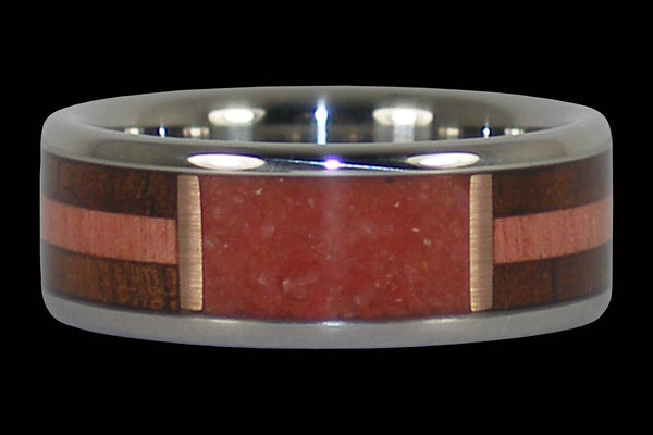 Red Coral and Exotic Wood Ring
