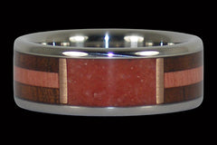 Red Coral and Exotic Wood Ring - Hawaii Titanium Rings