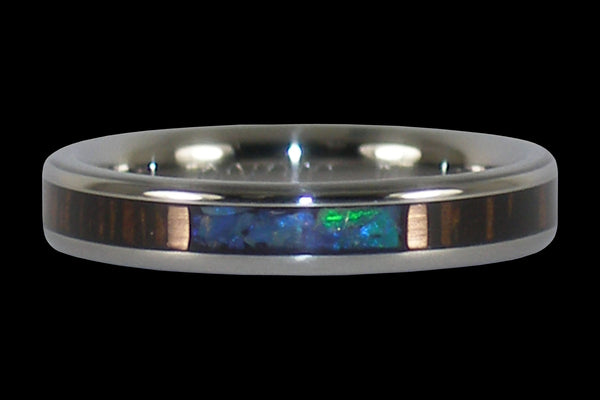 Blue Opal Stack Titanium Rings