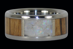 White Opal and Zebra Wood Inlay Titanium Ring - Hawaii Titanium Rings