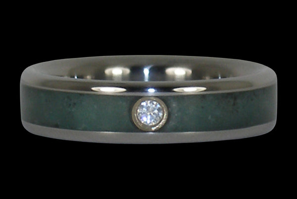 Emerald and Diamond Titanium Ring