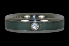 Emerald and Diamond Titanium Ring - Hawaii Titanium Rings