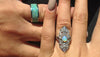 Black Fire and Ice Opal Titanium Ring - Hawaii Titanium Rings  - 5