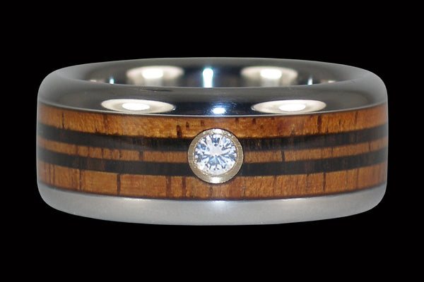 Diamond Hawaii Titanium Ring® with Wood Longboard Design
