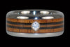 Diamond Titanium Ring with Wood Longboard Design - Hawaii Titanium Rings  - 1