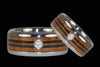 Diamond Titanium Ring with Wood Longboard Design - Hawaii Titanium Rings  - 2