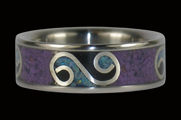 Silver Swirl Purple Sugilite and Opal Titanium Ring