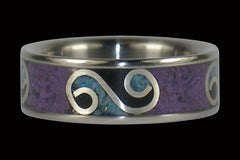 Silver Swirl Purple Sugilite Onyx and Opal Titanium Ring - Hawaii Titanium Rings
