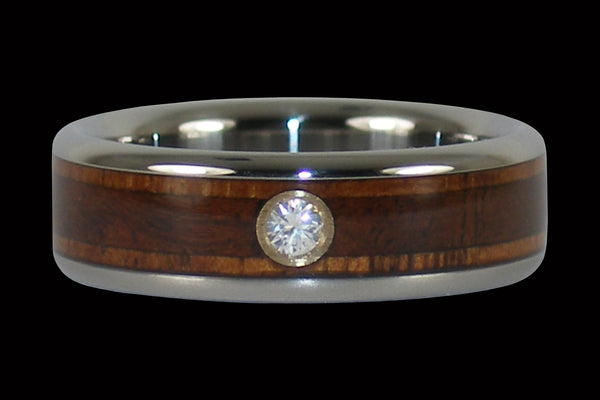 Hawaiian Wood Diamond Titanium Ring Band