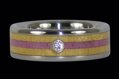 Diamond Titanium Ring with Pink Sugilite - Hawaii Titanium Rings  - 1