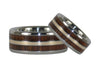 Wood and Gold Titanium Ring Bands - Hawaii Titanium Rings  - 2
